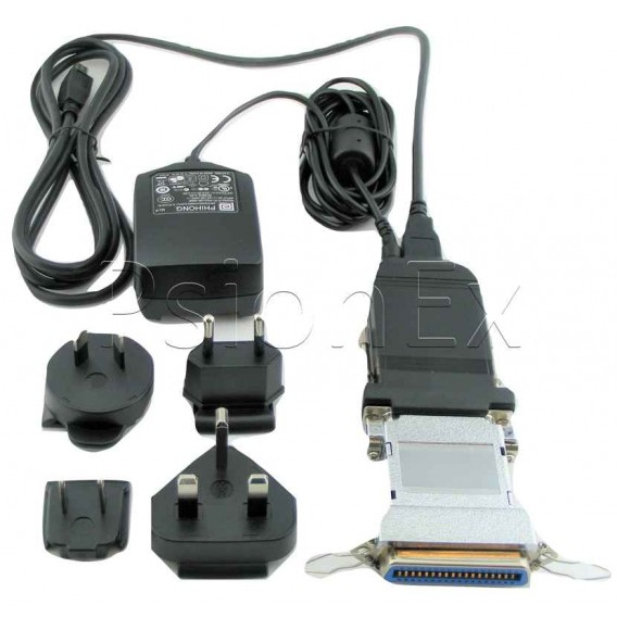 Centronics to 3Link printer cable adapter kit with power supply and USB cable