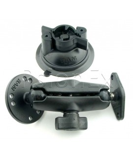 RAM MountTwist Lock Suction Cup with Double Socket Arm and Round Base adapter; Overall Length: 6.75""