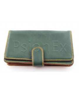 Psion Series 3/5 soft leather case, green and brown